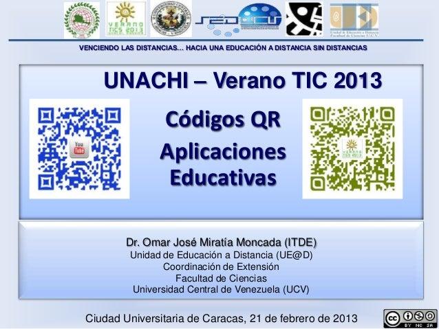 VENCIENDO LAS DISTANCIAS… HACIA UNA EDUCACIÓN A DISTANCIA SIN DISTANCIAS     UNACHI – Verano TIC 2013                    C...