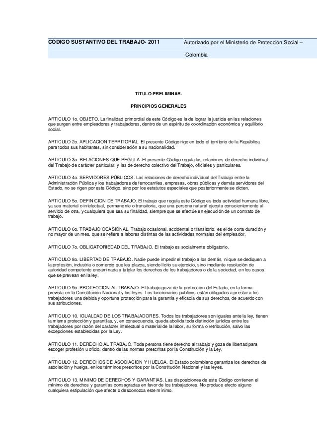 CÓDIGO SUSTANTIVO DEL TRABAJO- 2011                                Autorizado por el Ministerio de Protección Social –    ...