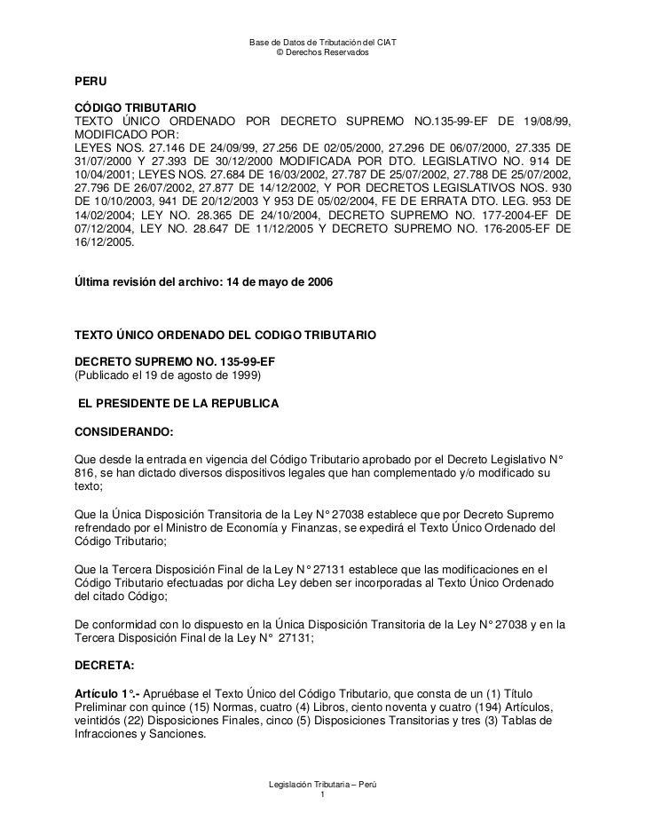 Base de Datos de Tributación del CIAT                                        © Derechos ReservadosPERUCÓDIGO TRIBUTARIOTEX...