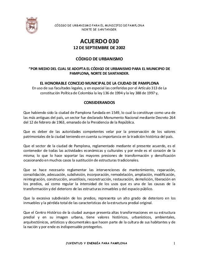 CÓDIGO DE URBANISMO PARA EL MUNICIPIO DE PAMPLONA                                  NORTE DE SANTANDER.                    ...