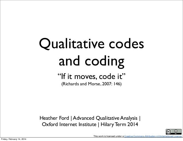 "Qualitative codes and coding ""If it moves, code it"" (Richards and Morse, 2007: 146)  Heather Ford 