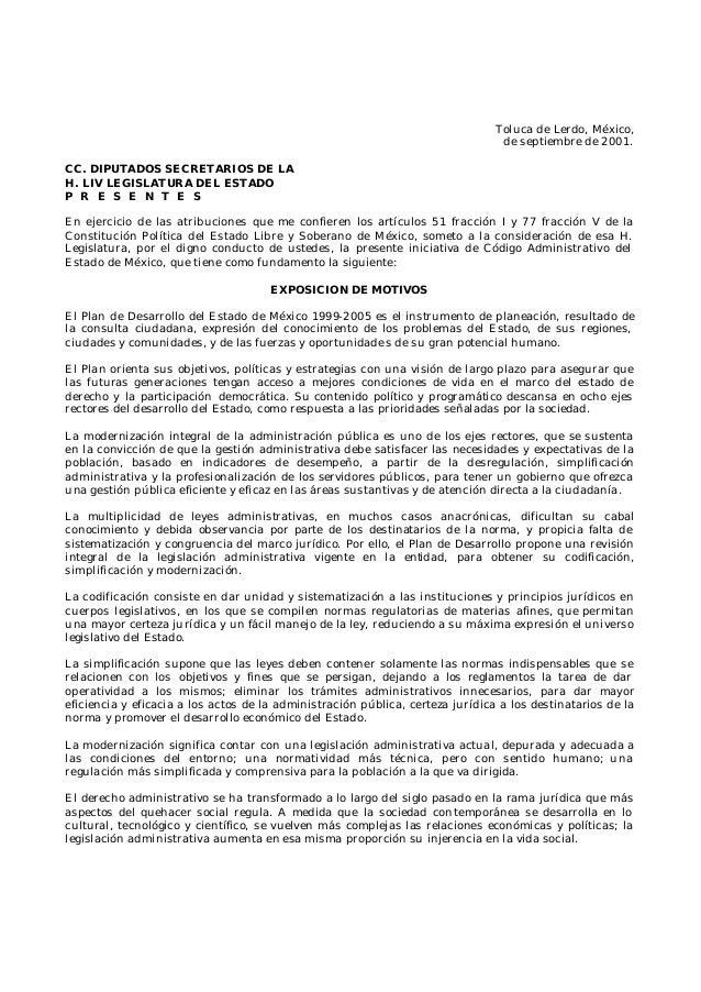 Toluca de Lerdo, México, de septiembre de 2001. CC. DIPUTADOS SECRETARIOS DE LA H. LIV LEGISLATURA DEL ESTADO P R E S E N ...