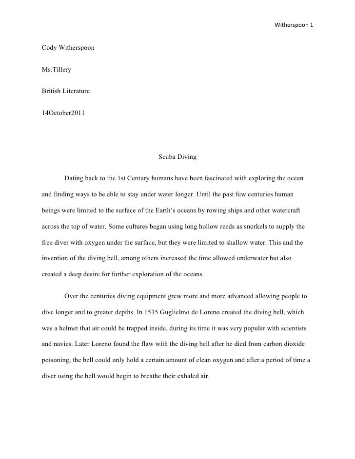 Witherspoon 1Cody WitherspoonMs.TilleryBritish Literature14October2011                                           Scuba Div...