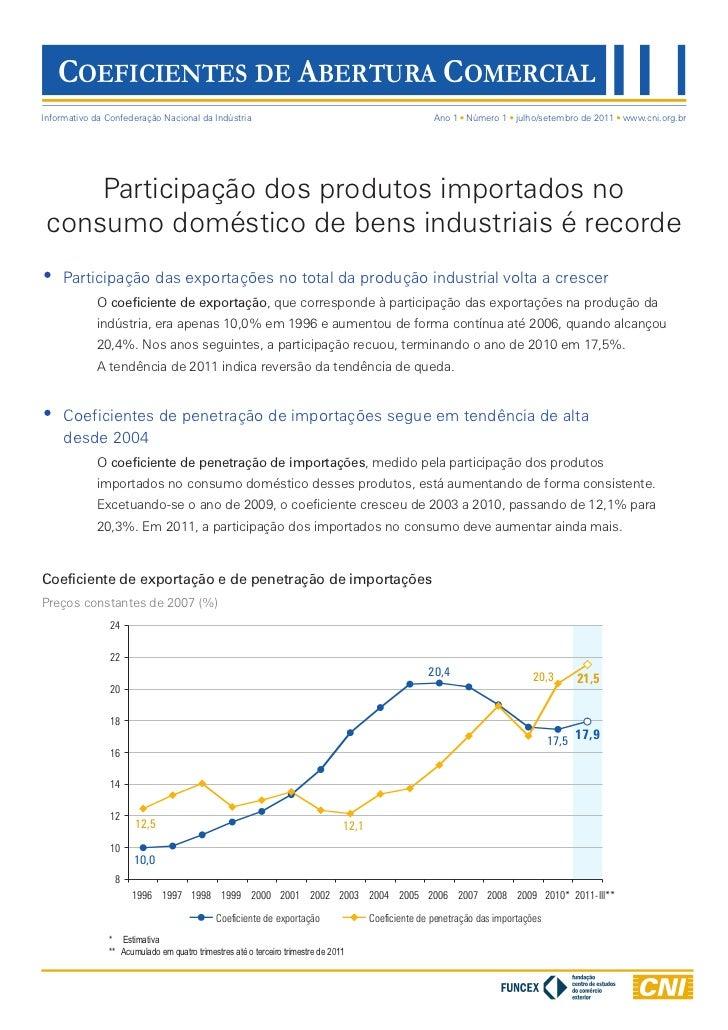 COEFICIENTES DE ABERTURA COMERCIALInformativo da Confederação Nacional da Indústria                                       ...