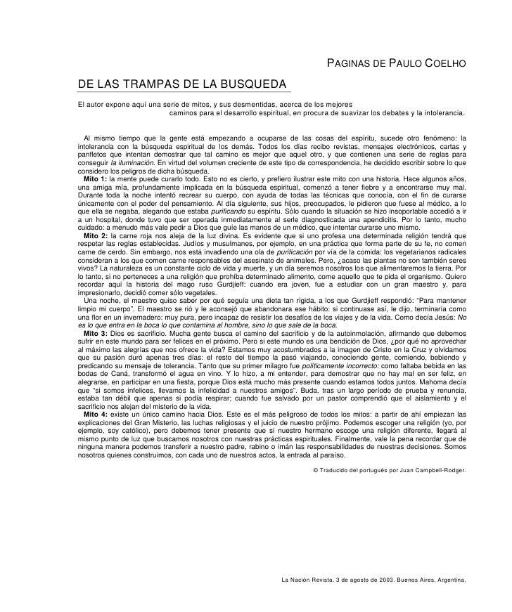 PAGINAS DE PAULO COELHO DE LAS TRAMPAS DE LA BUSQUEDA El autor expone aquí una serie de mitos, y sus desmentidas, acerca d...