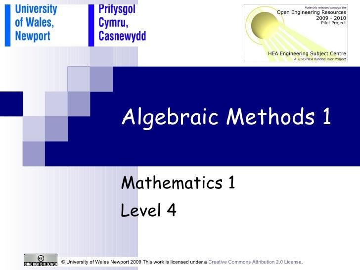 Algebraic Methods 1