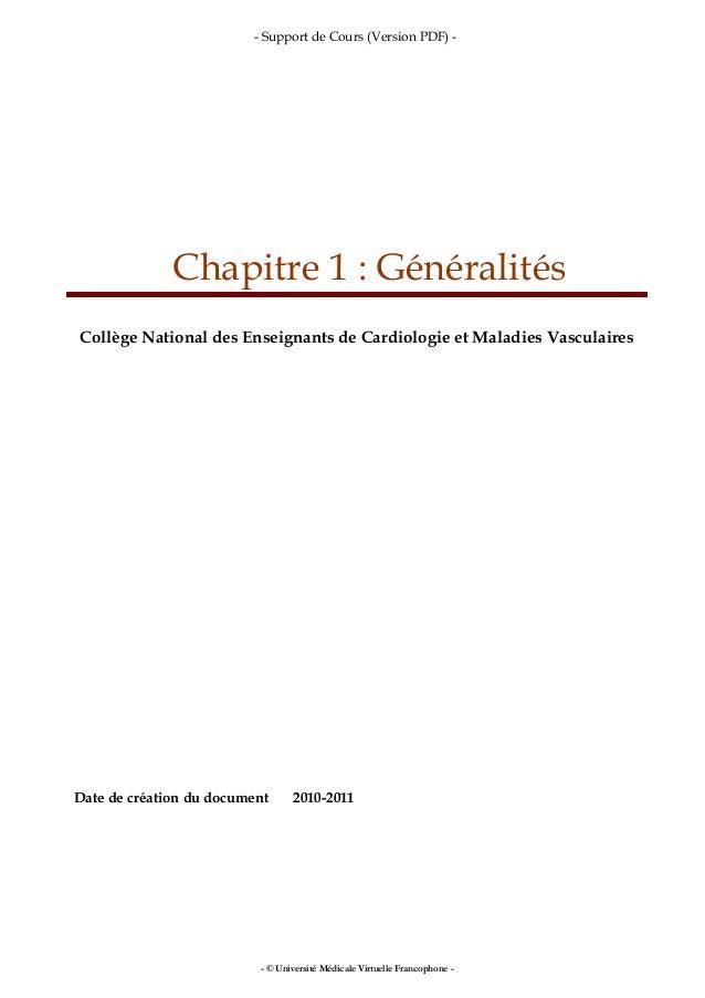 - Support de Cours (Version PDF) - Chapitre 1 : Généralités Collège National des Enseignants de Cardiologie et Maladies Va...