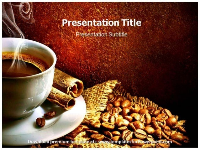 Cup Of Coffee With Espresso Beans PPT Template