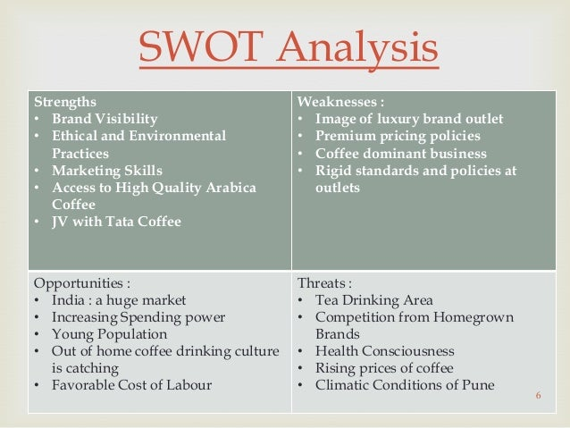 pest and swot analysis of coffee shops Coffee shop business plan swot analysis sample our intention of starting a coffee shop is to test run the business for a period of 3 to 5 years to know if we will invest additional money, expand the business and sell franchise which is why we are only settling with just an outlet for now.