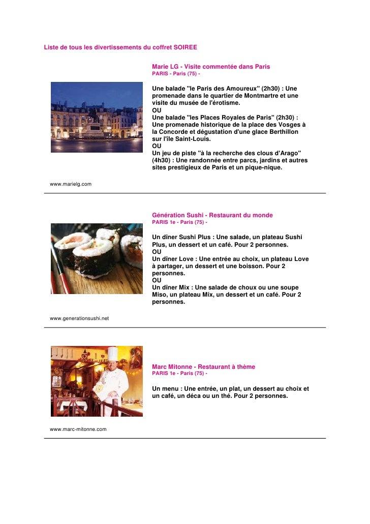 Liste de tous les divertissements du coffret SOIREE                                      Marie LG - Visite commentée dans ...