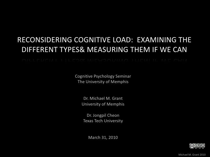 Reconsidering Cognitive Load: Examining the different types  & measuring them if we can<br />Cognitive Psychology Seminar...