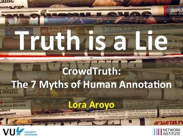 Truth  is  a  Lie  CrowdTruth:  The  7  Myths  of  Human  Annota9on  Lora  Aroyo