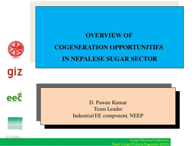 OVERVIEW OF COGENERATION OPPORTUNITIES IN NEPALESE SUGAR SECTOR  D. Pawan Kumar Team Leader Industrial EE component, NEEP ...