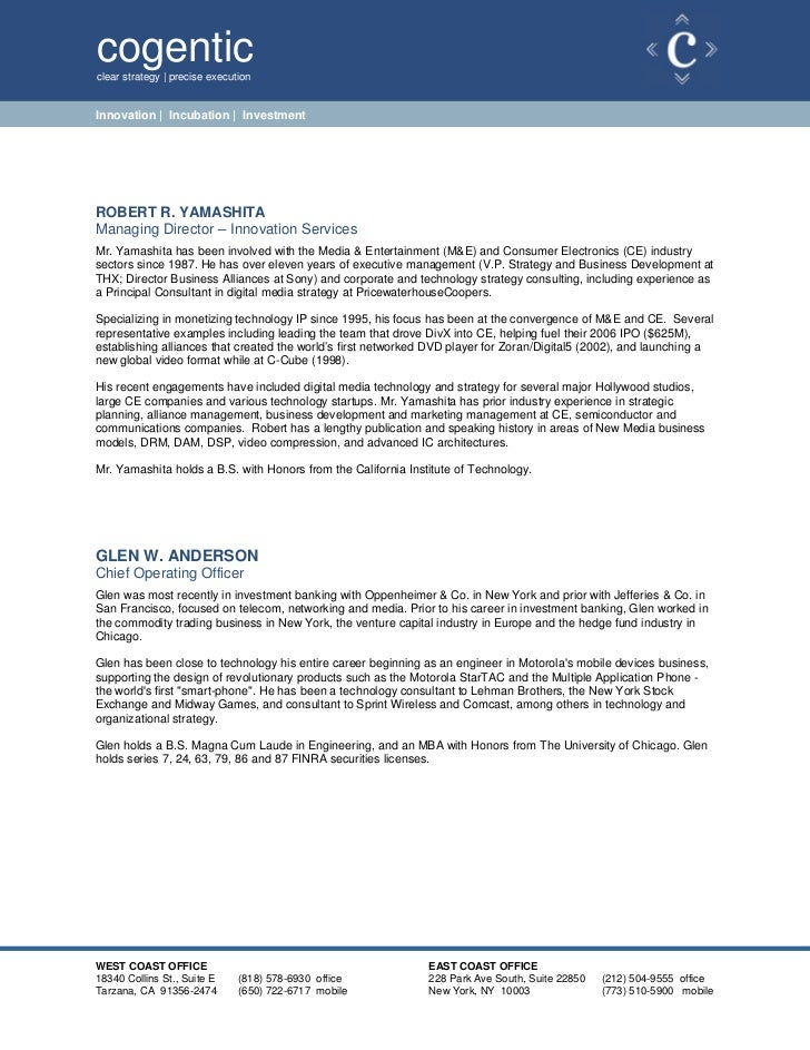 cogenticclear strategy | precise executionInnovation | Incubation | InvestmentROBERT R. YAMASHITAManaging Director – Innov...