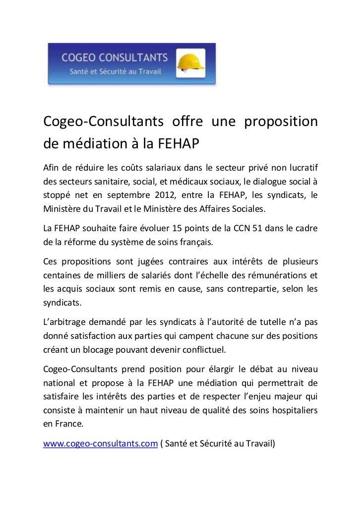 Cogeo-Consultants offre une propositionde médiation à la FEHAPAfin de réduire les coûts salariaux dans le secteur privé no...