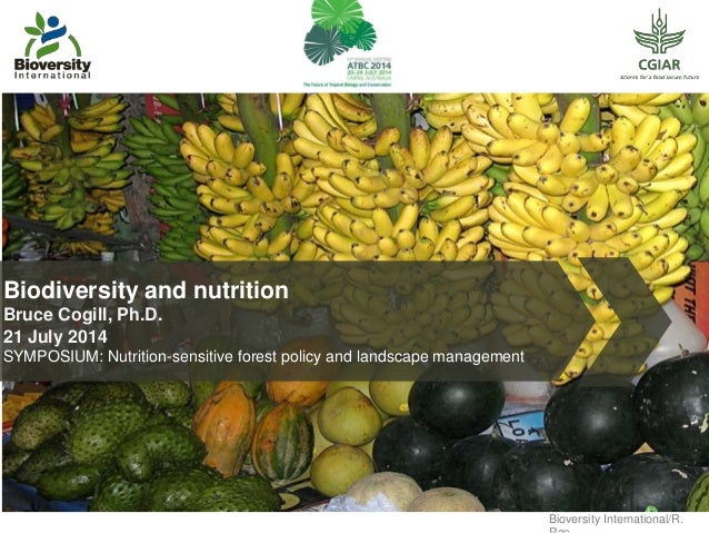 Biodiversity and nutrition Bruce Cogill, Ph.D. 21 July 2014 SYMPOSIUM: Nutrition-sensitive forest policy and landscape man...