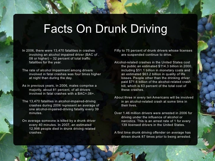 Facts About Alcohol Related Car Crashes