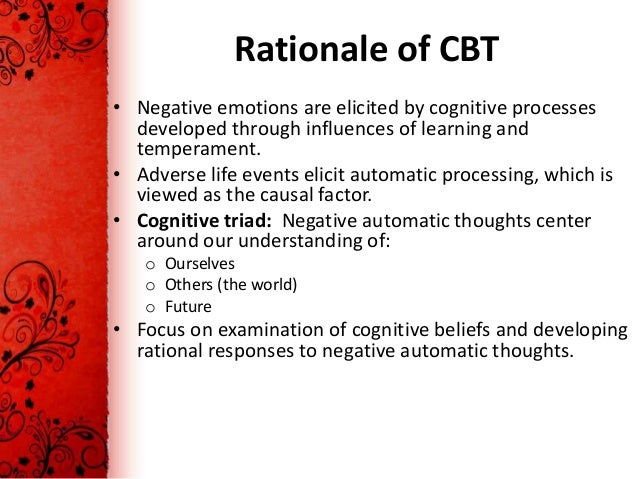 mock therapy session cognitive behavior therapy A review of the previous session's homework assignment a discussion of agenda items examine the components of cognitive behavioral therapy for depression (cbt-d) js (2011) cognitive behavior therapy.