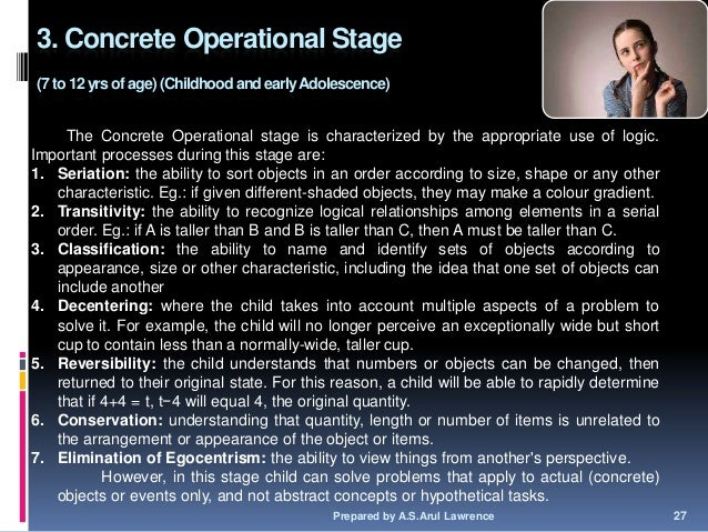concrete operational stage The elementary classroom: grades 3-6 science, children, and learning by donald peck:  are in what he calls the concrete operational stage of development.