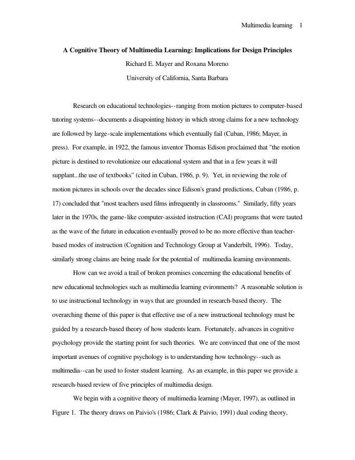 Cognitive multimedia learning pdf