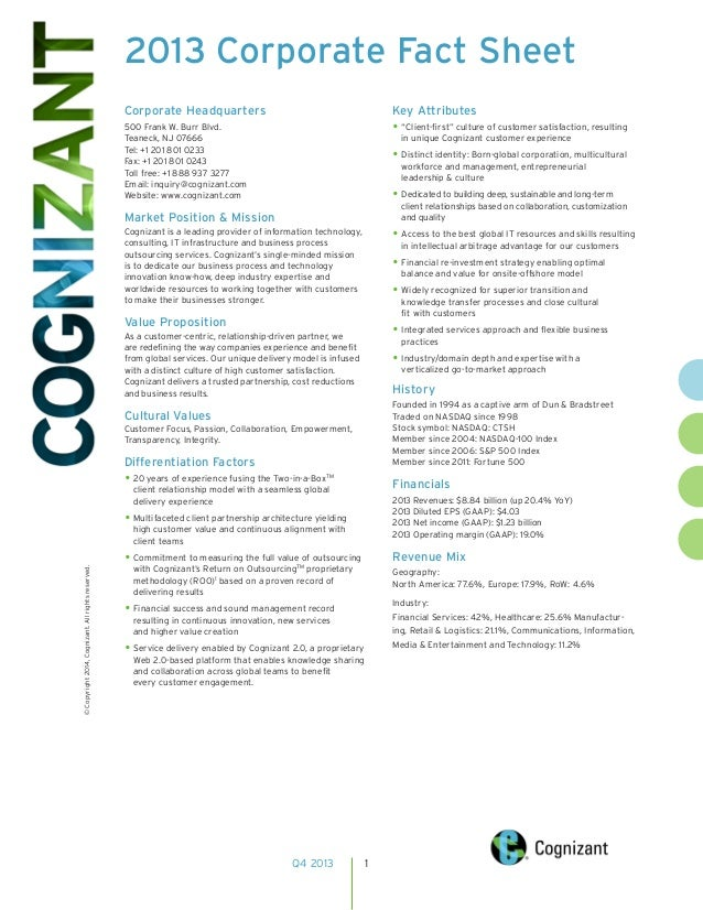 Cognizant - 2013 Corporate Fact Sheet