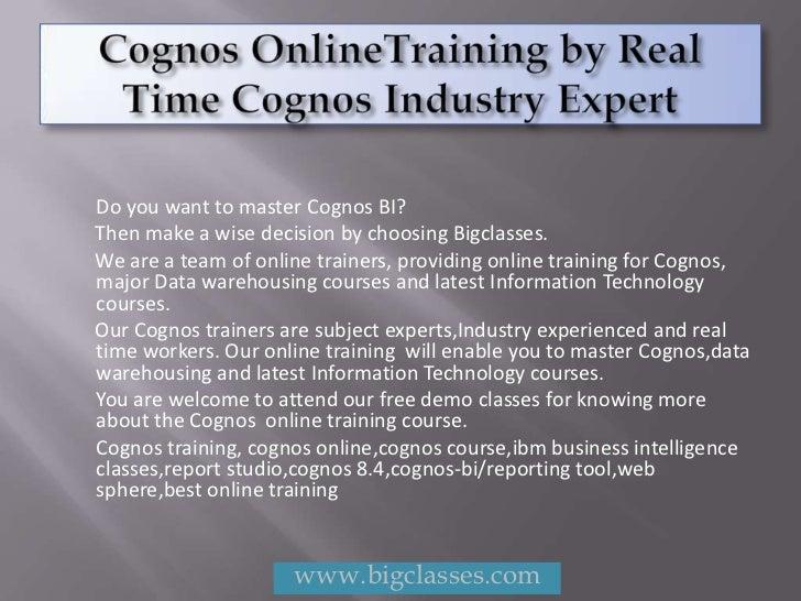 Cognos online training | Cognos training online | free demo