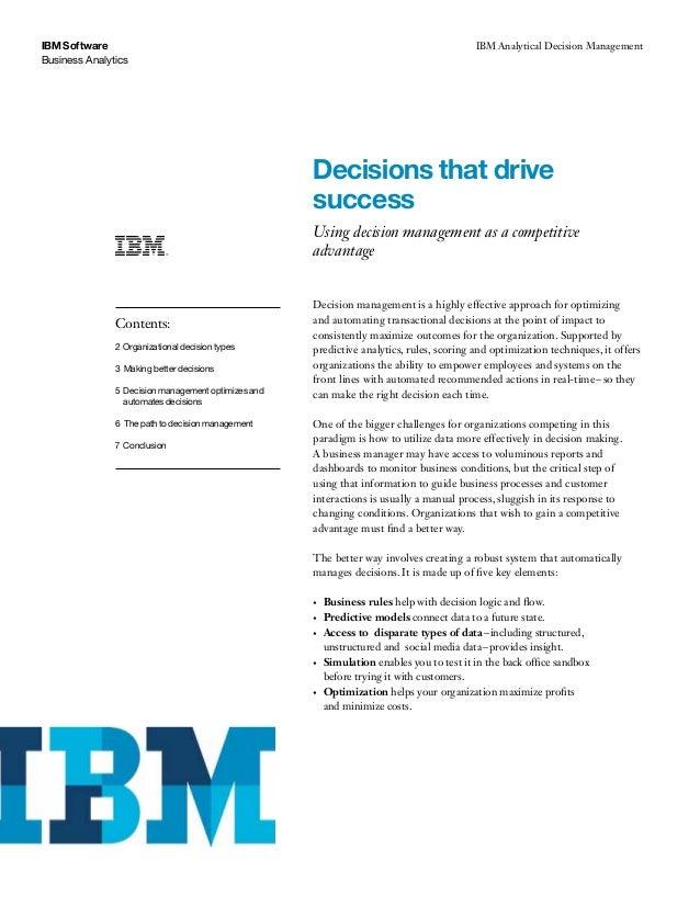 Using Decision Management to Your Competitive Advantage
