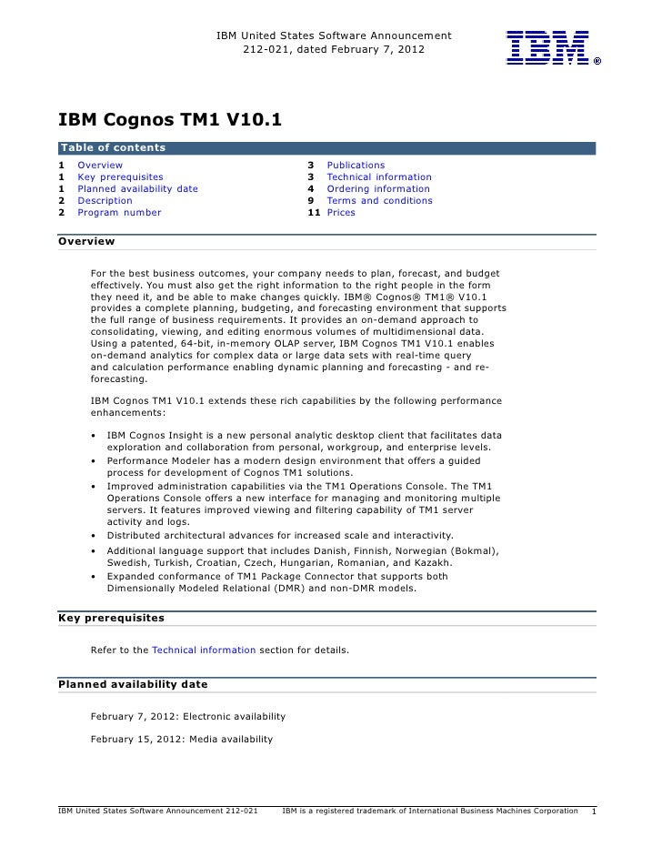 IBM United States Software Announcement                                         212-021, dated February 7, 2012IBM Cognos ...