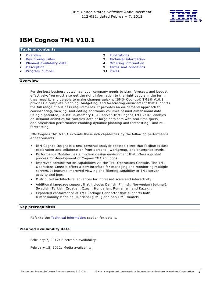 Cognos Tm1 10.1 Announcement