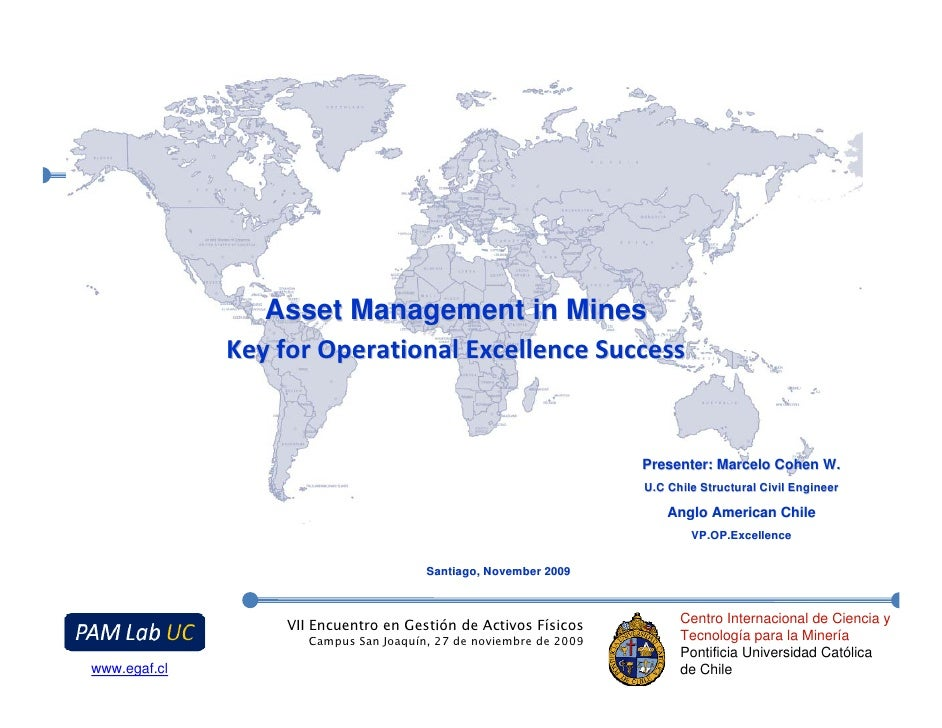 Asset Management in Mines               Key for Operational Excellence Success                                            ...
