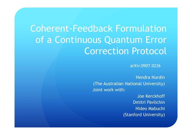 Coherent feedback formulation of a continuous quantum error correction protocol