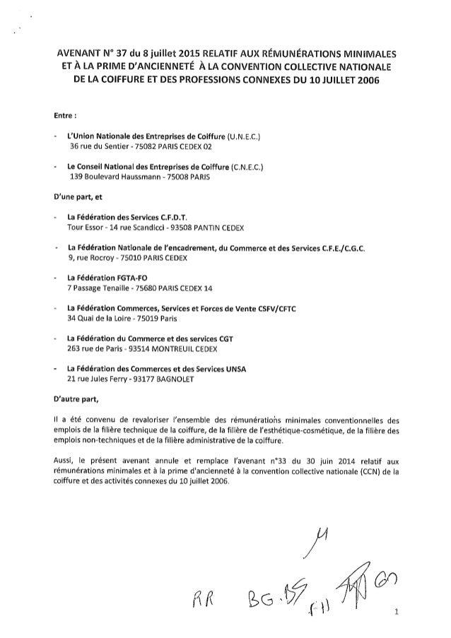 Coiffure : avenant 37 du 8 juillet 2015 relatif au rémunérations minimales