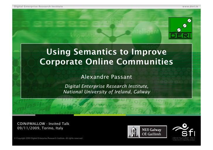Using Semantics to Improve Corporate Online Communities