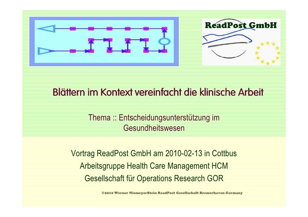 ReadPost GmbH     Blä Blättern im Kontext vereinfacht die klinische Arbeit          Thema :: Entscheidungsunterstützung im...