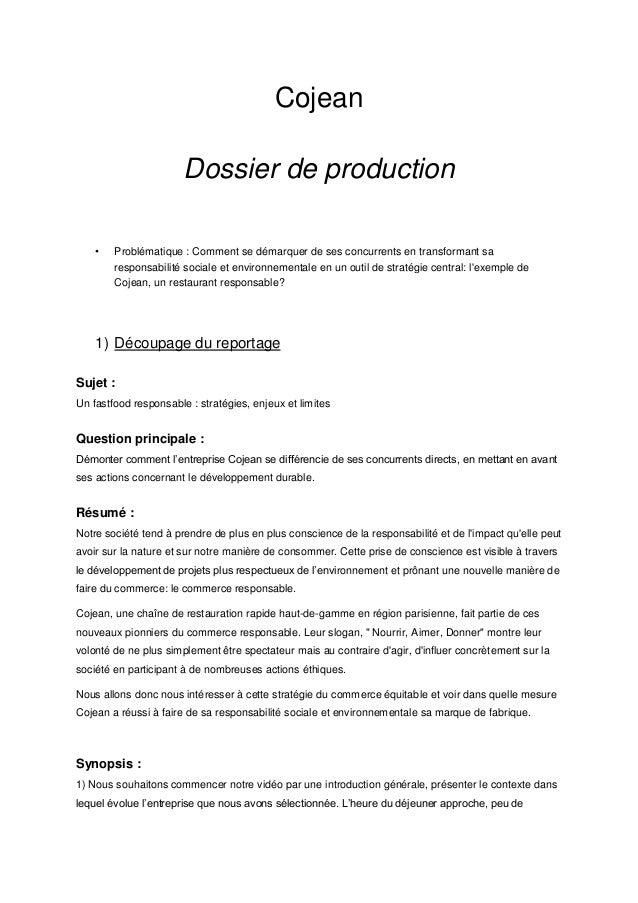 Cojean dossier de production