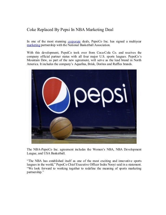 Coke replaced by pepsi in nba marketing deal