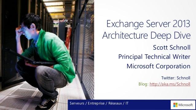 Exchange Server 2013Architecture Deep DiveScott SchnollPrincipal Technical WriterMicrosoft CorporationServeurs / Entrepris...