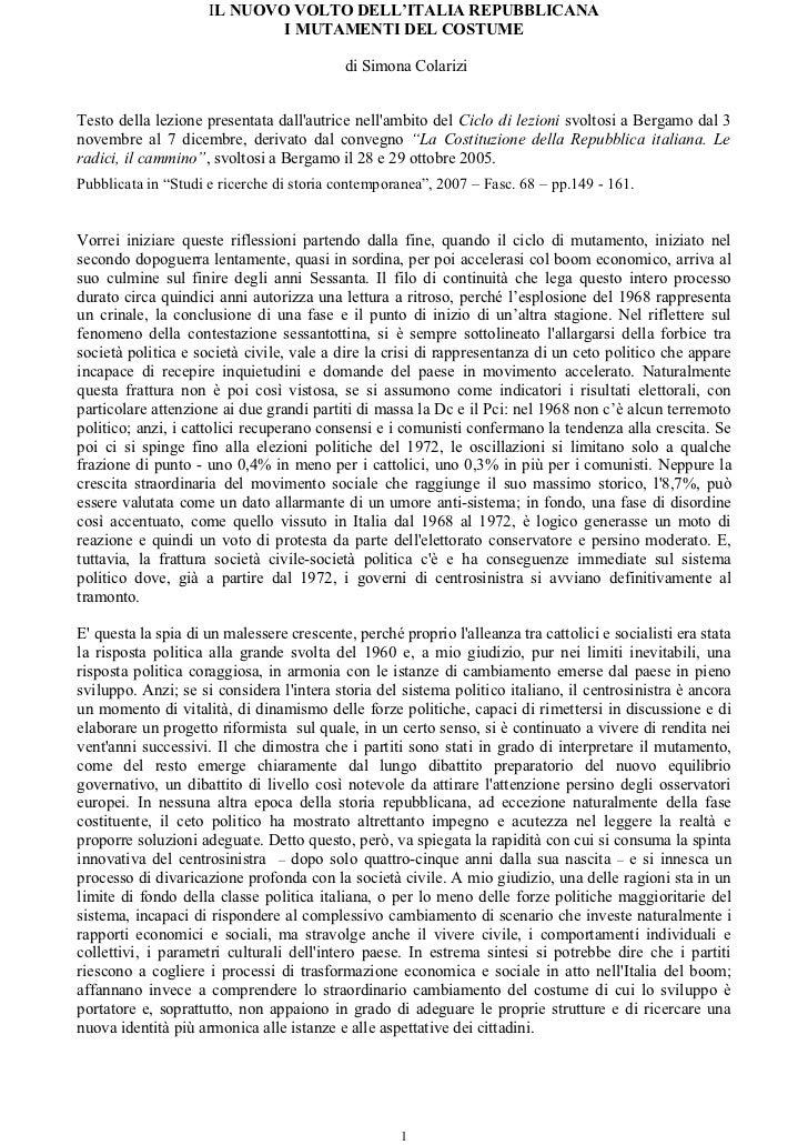 IL NUOVO VOLTO DELL'ITALIA REPUBBLICANA                             I MUTAMENTI DEL COSTUME                               ...
