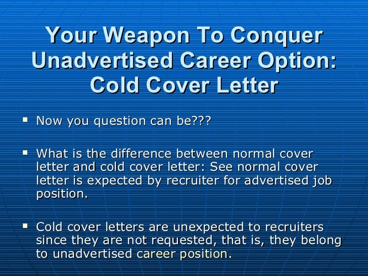 new trend in cover letter  cold cover letter