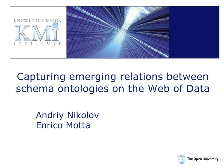 Capturing emerging relations between schema ontologies on the Web of Data<br />Andriy Nikolov<br />Enrico Motta<br />