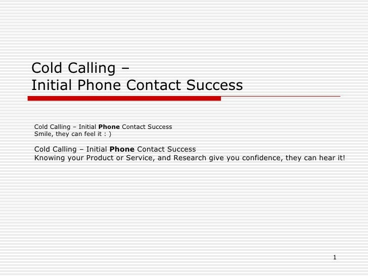 Cold calling – initial phone contact success