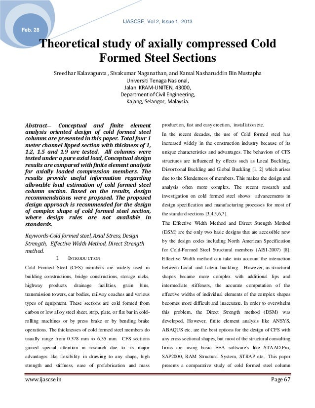 IJASCSE, Vol 2, Issue 1, 2013Feb. 28        Theoretical study of axially compressed Cold                   Formed Steel Se...