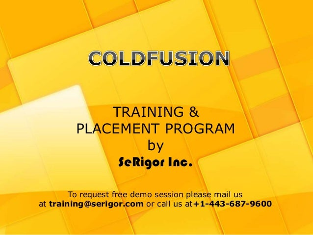 Coldfusion Training and Placement Program