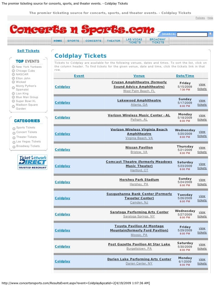 Coldplay Viva La Vida Concert World Tour Dates 2009