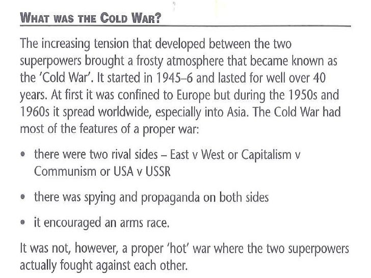 origins and causes of the cold Causes of the cold war background allied and axis powers in the second world war allies britain france usa (after 8/12/1941 - pearl harbour) ussr (after 22/6/1941 - when hitler invaded the ussr) origins of the cold war 1.