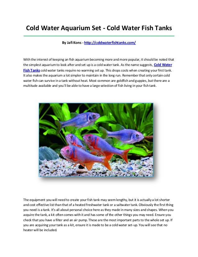 Cold water fish tanks for Cold freshwater fish