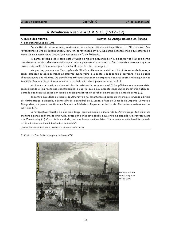 Colección documental                                       Capítulo X                           1º de Bacharelato         ...