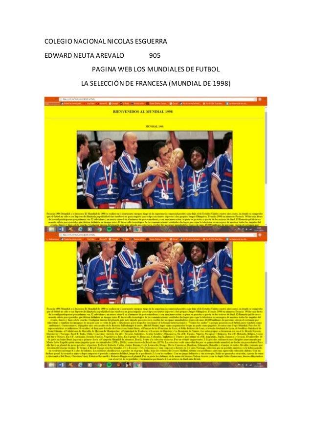 COLEGIO NACIONAL NICOLAS ESGUERRA EDWARD NEUTA AREVALO 905 PAGINA WEB LOS MUNDIALES DE FUTBOL LA SELECCIÓN DE FRANCESA (MU...