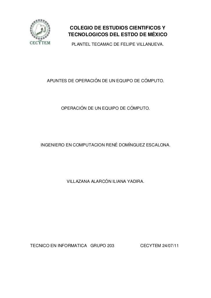 COLEGIO DE ESTUDIOS CIENTIFICOS Y              TECNOLOGICOS DEL ESTDO DE MÉXICO               PLANTEL TECAMAC DE FELIPE VI...