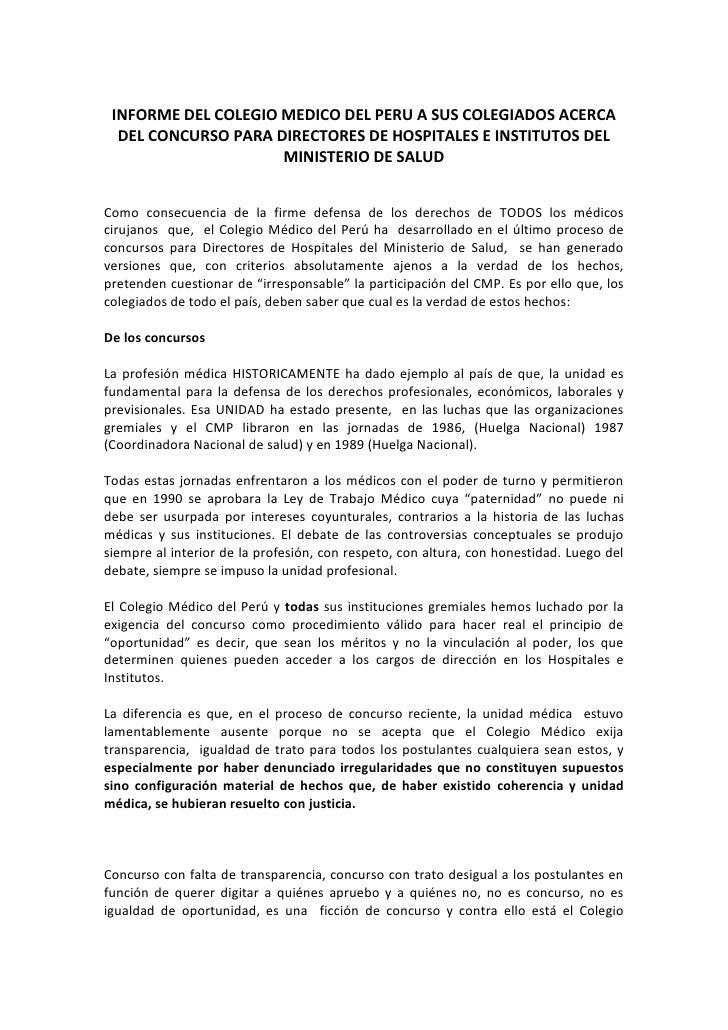 INFORME DEL COLEGIO MEDICO DEL PERU A SUS COLEGIADOS ACERCA  DEL CONCURSO PARA DIRECTORES DE HOSPITALES E INSTITUTOS DEL  ...